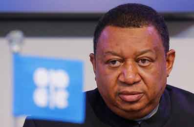 OPEC Secretary General Mohammad Barkindo listens during a news conference after a meeting of the Organization of the Petroleum Exporting Countries (OPEC) in Vienna, Austria, November 30, 2016. REUTERS/Heinz-Peter Bader - RTSU1OA